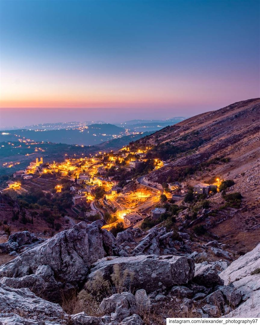 The golden Diamonds - Blue hour at the Southern mountains of Lebanon. ... (South Governorate)