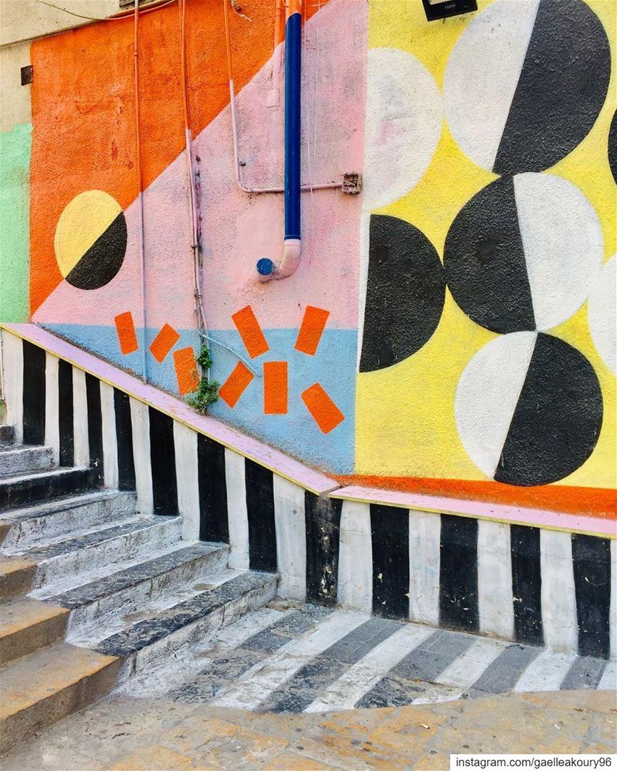 Good morning Beirut ☀️ beirut streets art streetart colors happy ... (Saint Nicolas Stairs, Gemmayze)