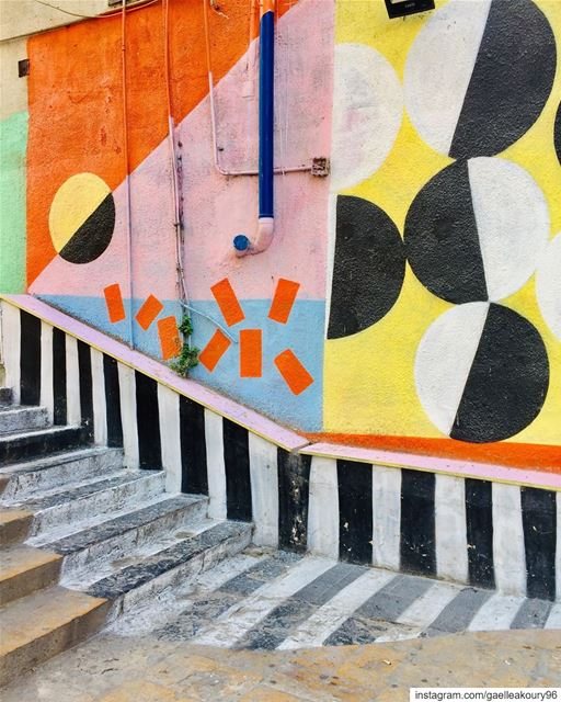 Good morning Beirut ☀️ beirut streets art streetart colors happy ... (Saint Nicolas Stairs, Gemmayze)