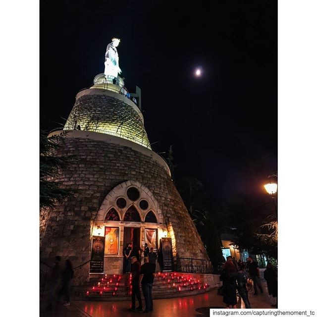 ladyoflebanonharissa church prayers candles light moon moonlight... (Harisa Jounieh)