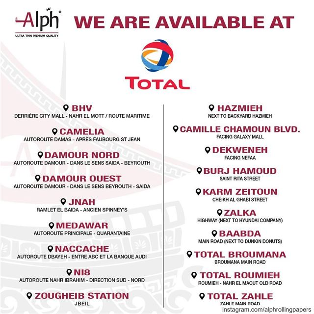CHOOSE QUALITY. in TOTAL locations NEAR you. totalgasstation alph ... (Beirut, Lebanon)