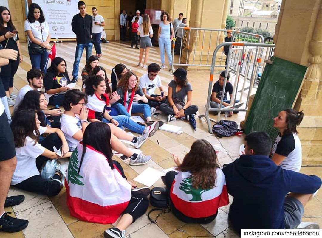 A math teacher is giving her class at the Martyr Square! This is the... (Beirut, Lebanon)