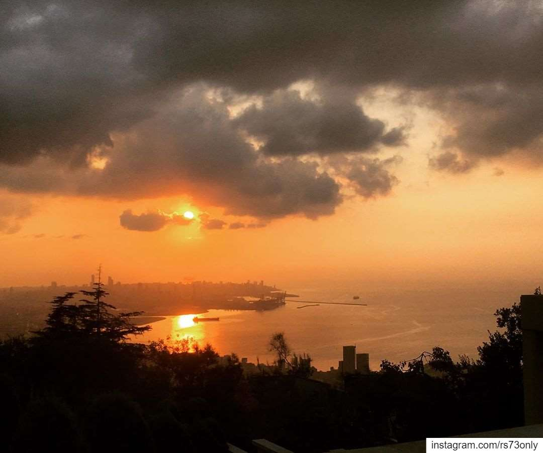 sunset over Rabieh peaceful view while people revolution undergoing ...