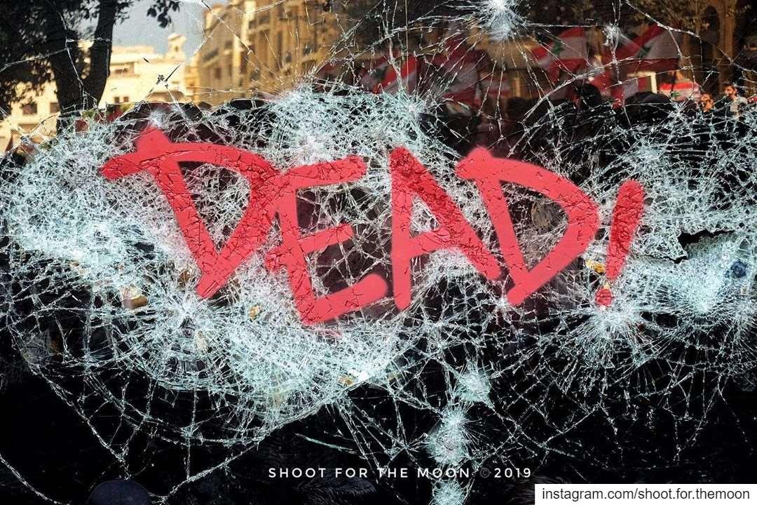 CHAOS ..... lebanon revolution dead broken glass red black ... (Riad El Solh)