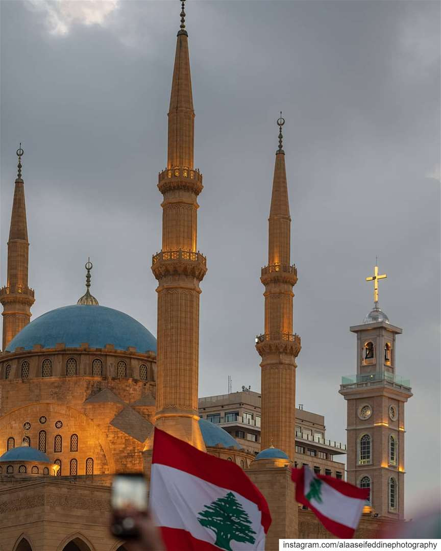 Mohammad Al Ameen Mosque and Saint Georges Cathedral in city center...