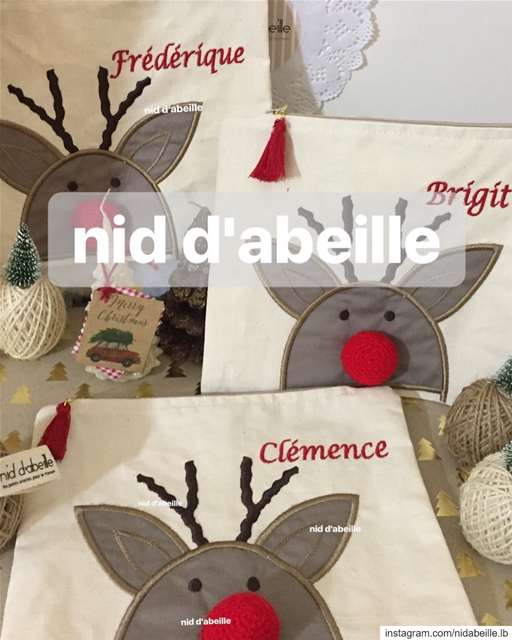 Christmas pouches made with ❤️ Write it on fabric by nid d'abeille ...
