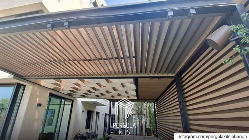 All in 1 Geometrical Pergola;Aluminum Louvers, Wood, Fabric & Steel. ... (Baabda)