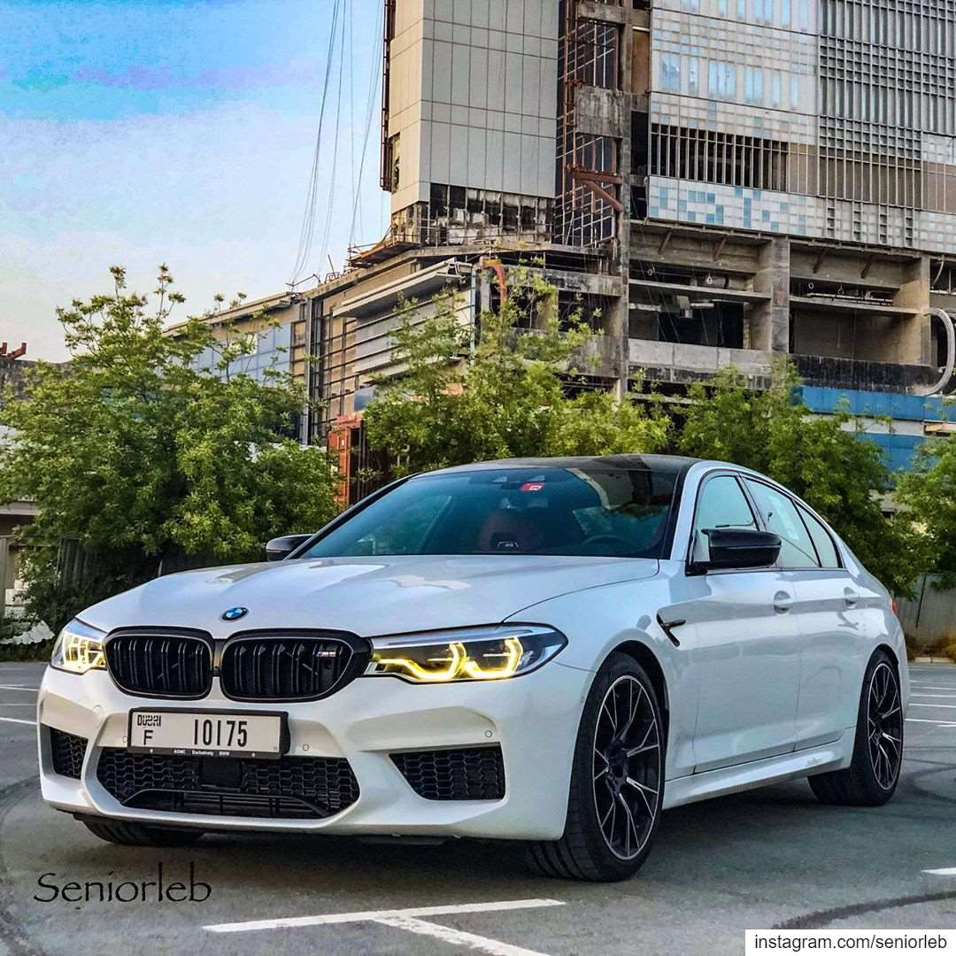 Bmw M5 Competition Package White Black With Cf Parts Dubai Mall And Burj Khalifa Lebanon In A Picture