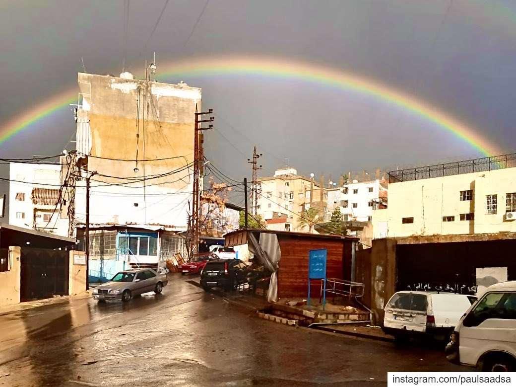 god promise lebanon rainbow rain beirut streetphotography street ... (Beirut, Lebanon)