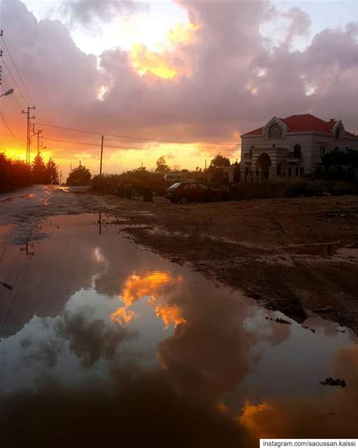 sunsettime  reflection village  streetphotography  today colorfulsky ... (Lebanon)