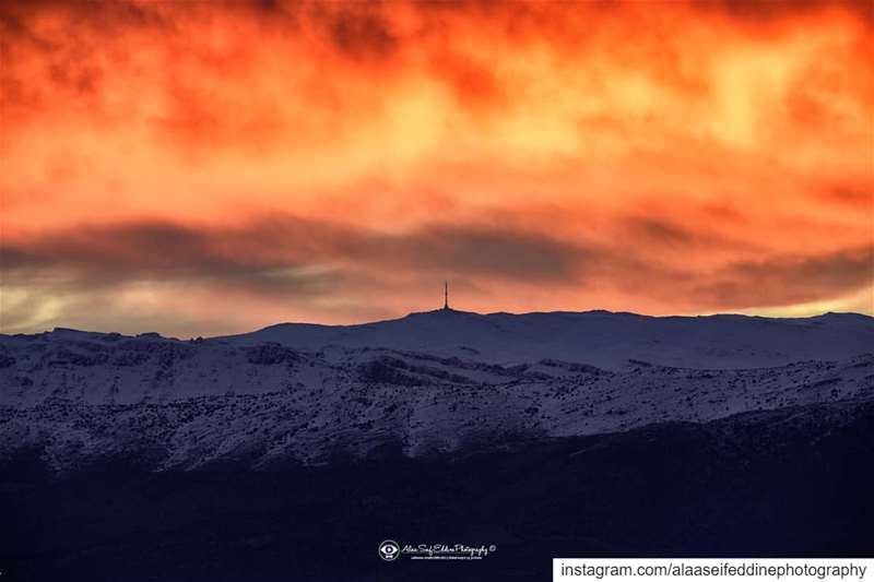 As if the sky was in a blaze - Sunrise this morning in Zahle......