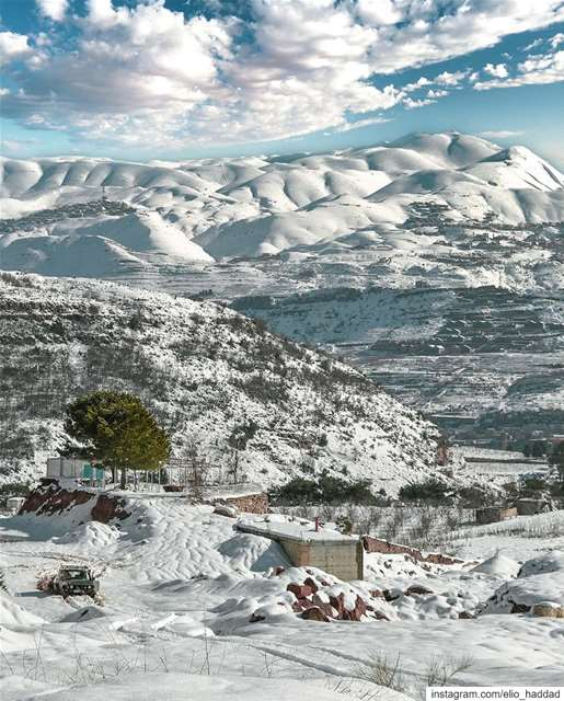 🏔️🇱🇧 Lebanon Morning Nature Snow Mountains Green Blue White ... (Wata El Jawz)