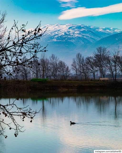 Nature's reflection! 💙....... landscapephotography... (Deïr Taanâyel, Béqaa, Lebanon)