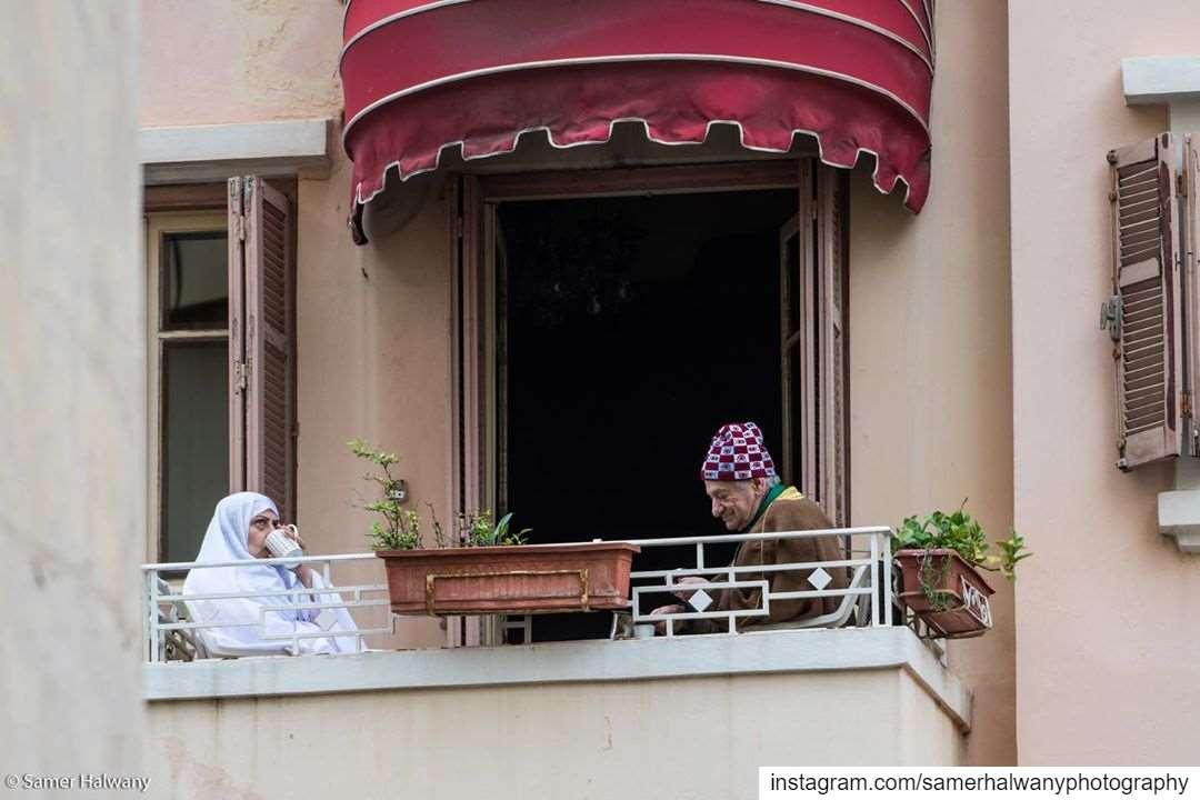 Balcon Beirut.8am, street of Beirut, the ritual start no matter the...