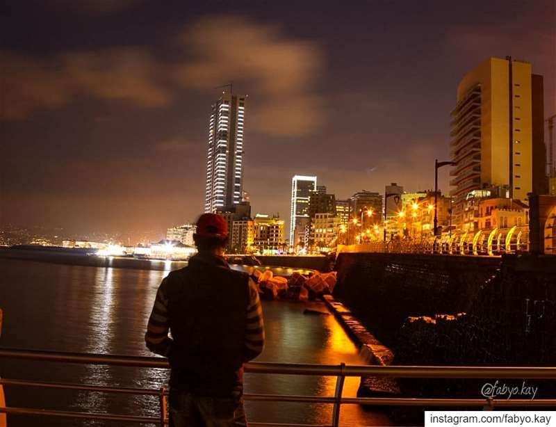 lebanon night beirut lights longexposureshot buildings nightshooters... (Corniche El Manara)