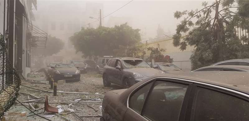 Broken cars covered in dust after the Beirut blast that happened in August 4, 2020
