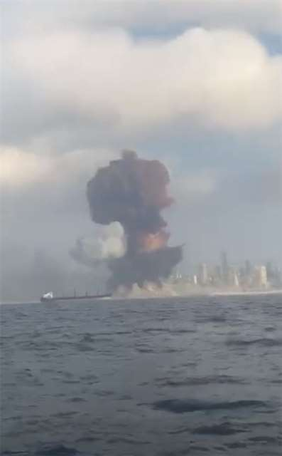 Raw footage of the Beirut blast from the sea