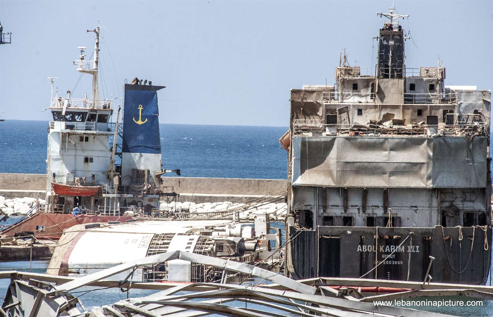 Abou Karim Ship next to the Almost drown Orient Queen next to the Beirut Port Explosion Area