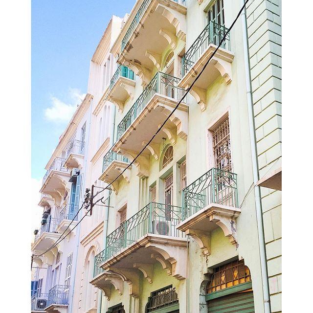 Those pastel buildings are simply beautiful 💚💙💜. Good morning Beirut 🌞☕️🇱🇧! mybeirut (Gemmayzeh, Beirut)