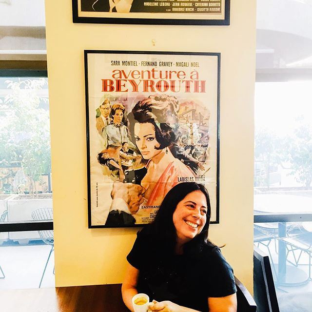 """Beautiful smile posing in front of """"Aventure à Beyrouth.""""😄 Good morning! ☀️☕️🇱🇧 sister marinellarestaurant istandforwomen (Mar Mikhael, Beirut)"""