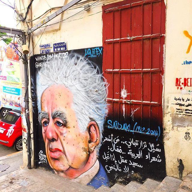 Amazing portrait of the poet Saïd Akl by street artist Phat2! 🎨 Sabah el Kheir Beirut! 🌞☕️🇱🇧 graffiti by @thephat2 (Gemmayzeh, Beirut)