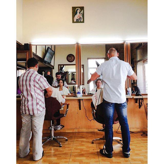 At the hairdresser under the protection of Saint Teresa 💆🏻 Good morning Beirut! 🌞☕️🇱🇧 (Beirut, Lebanon)