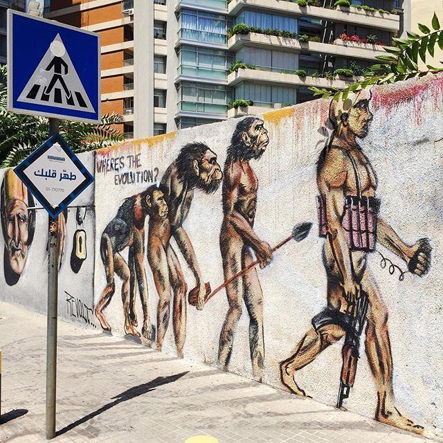 """Where is the evolution? An animal called human."" Amazing mural by Karim Tamerji and Said Fouad Mahmoud . Sabah El Nour Beirut! instamood instagood igdaily Instaphoto photooftheday (Verdun, Beyrouth, Liban)"