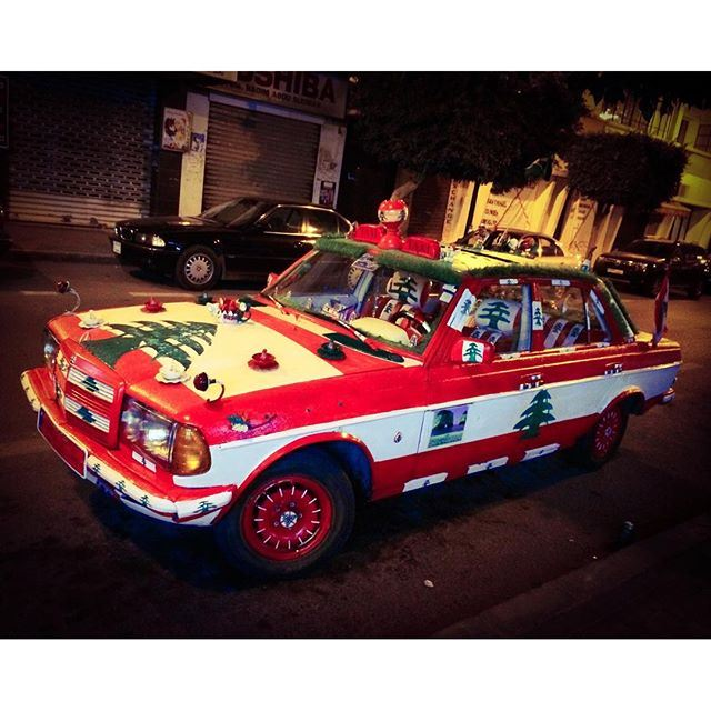 """Azizati"" (""My darling""), the best taxi in town ❤️💚! Decorated by its owner Akram Saïd with the colors and emblem of the Lebanese flag 🇱🇧 taxi lebaneseflag rider friday love car (Badaro, Beirut)"