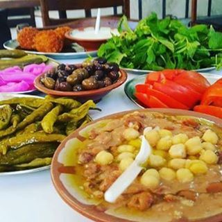 "When you order only one plate of foul ""Beans"" and you get all these extras you know you are in Lebanon"