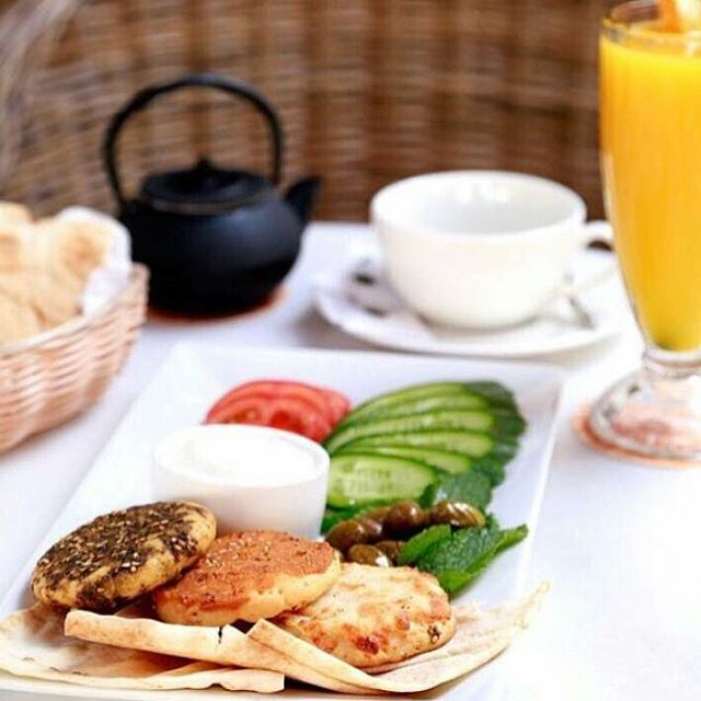 Sometimes the best Breakfast is the simple one, keep it fresh and keep it Lebanese ... (Cappuccino Ashrafieh)