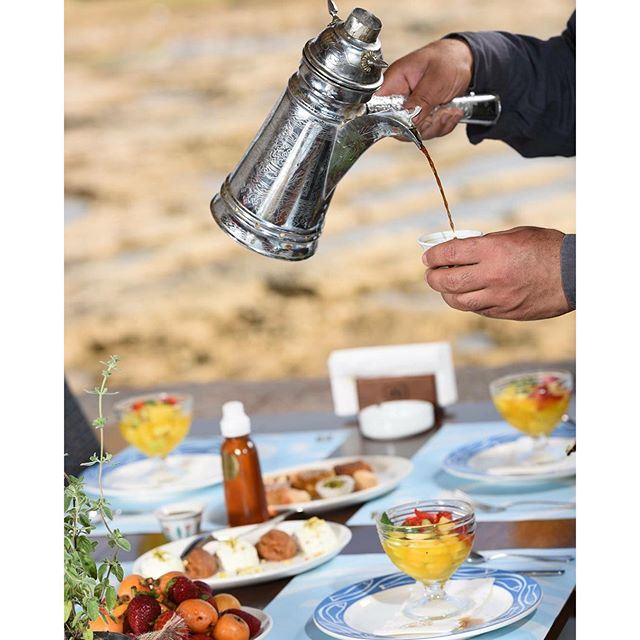 After the Lebanese mezze don't forget the Arabic coffee with the fruits and the oriental  sweet, ❤️❤️❤️👌👌👌 Live love Lebanon  (Al Azrak-Jbeil)