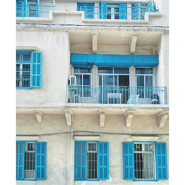 Beautiful facade of old Beirut 💙 (Beirut, Lebanon)