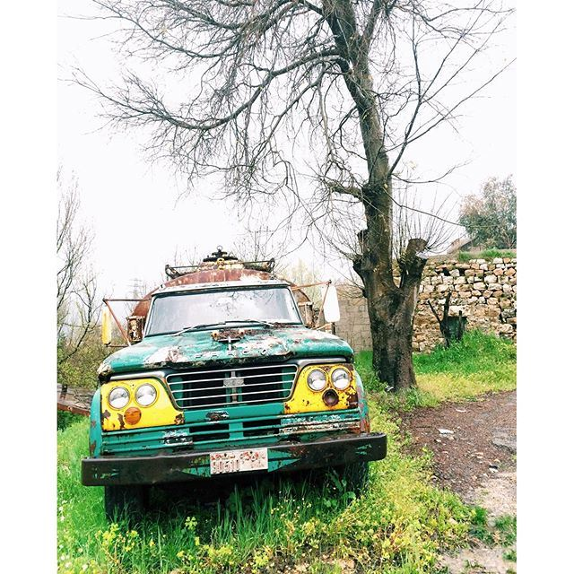This truck finally settled down between the arms of nature 🚛🌿 (El Ghîné, Mont-Liban, Lebanon)