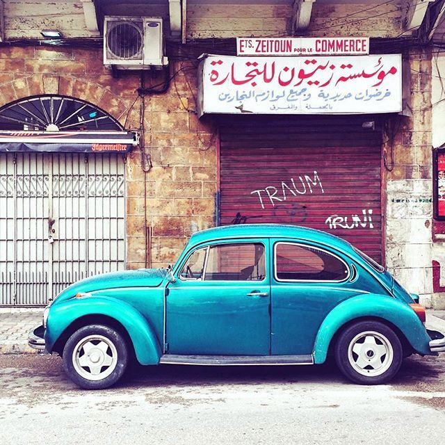 Wondering if the person who parked here was aware of the beautiful image he had created 🚙 💙 (Mar Mikhael, Beirut)