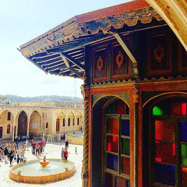 discoverlebanon oldpalace historicalpalace oldstucture colorfulglass vitraux oldbalcony balustrade (Beit Eldin.Al Chouf Lebanon)