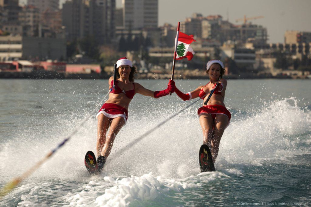 Water Skiing in Jounieh Bay For Christmas