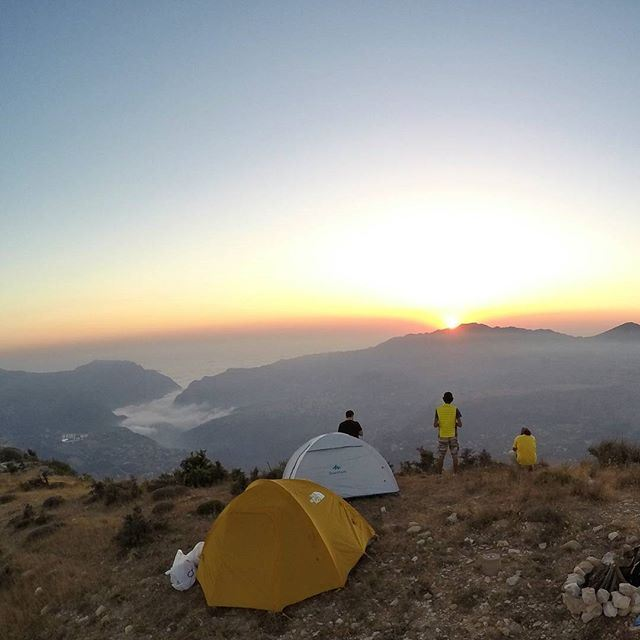 Sunsets are only properly perceived when you're camping with your friends.🌅 (Lebanon)