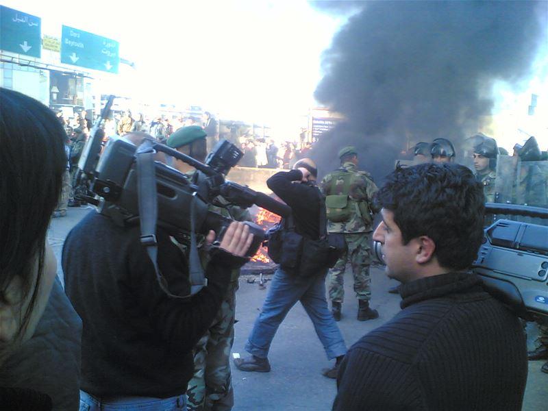 Al Tayyar Supporters Blocking the Jal-el-Dib Zalka Highway