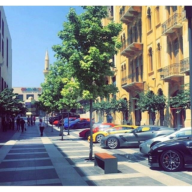 The Beirut grand prix racing cars warming up in Fakhry Bey Street. 🚗 (Beirut Souks - Downtown Beirut)
