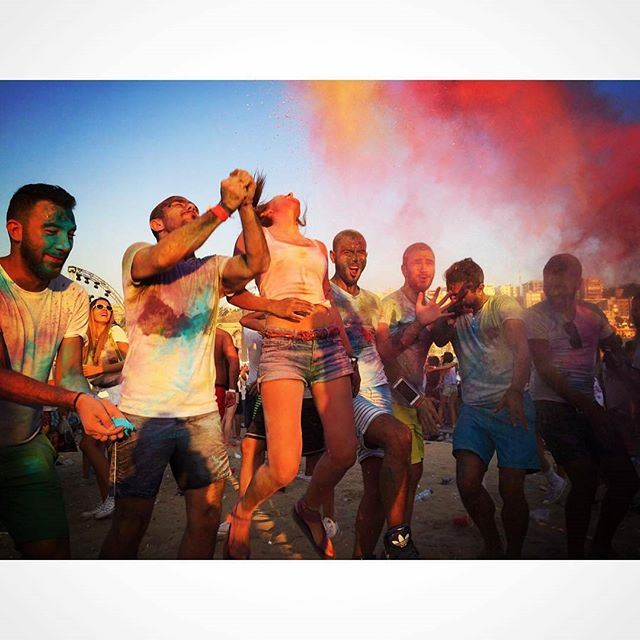 Colors, Friends And Happiness.. holi color festival powder colors jump friends happy happiness beirut wanderlust love