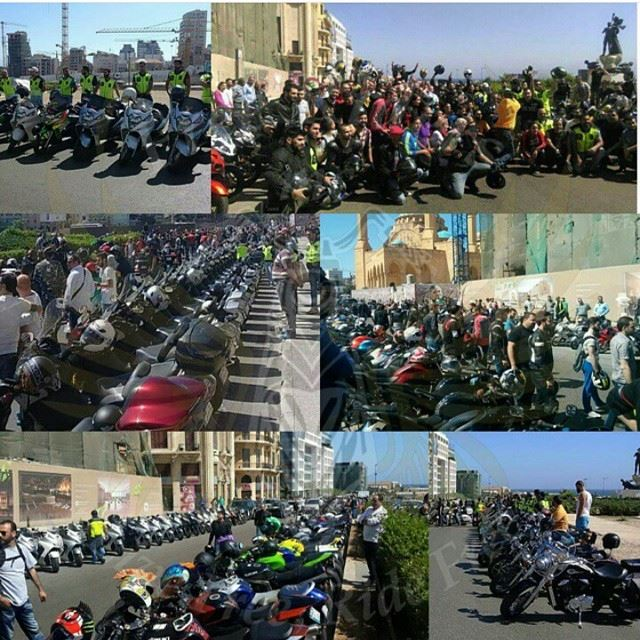 Lebanese Legal Bikers protest today (1\5\2015) @ Sahet El Shohada. One For All, All for One.