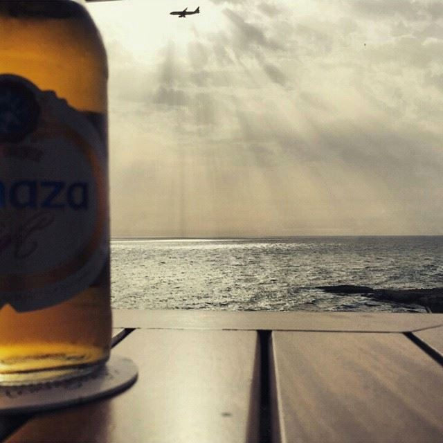 Lovely😍 rawche beirut sea plane sunset almaza beer (Hemingways, Movenpick)