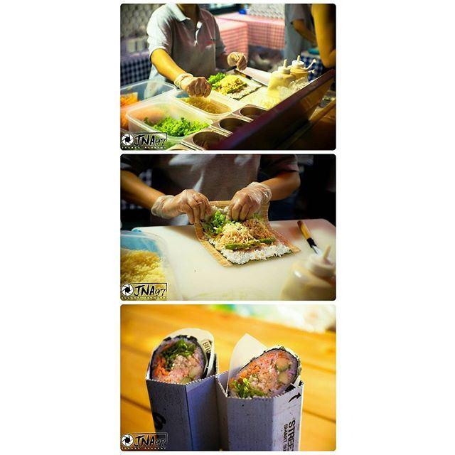 The making of a Sushi Burrito @soukelakel 👌😋 (Souk El Akel)