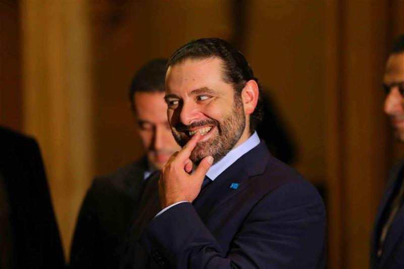 Saad Hariri biting his finger