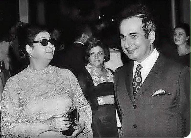 President Rene Mouawad with Oum Kolthoum Beirut 1970