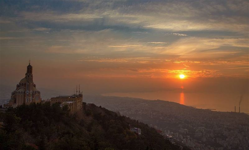 Sunset view from Harissa (The Lady of Lebanon - Harissa)