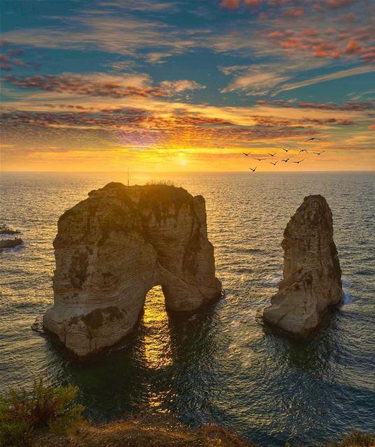 Amazing sunrise near sea (Bayrock - Raouche)