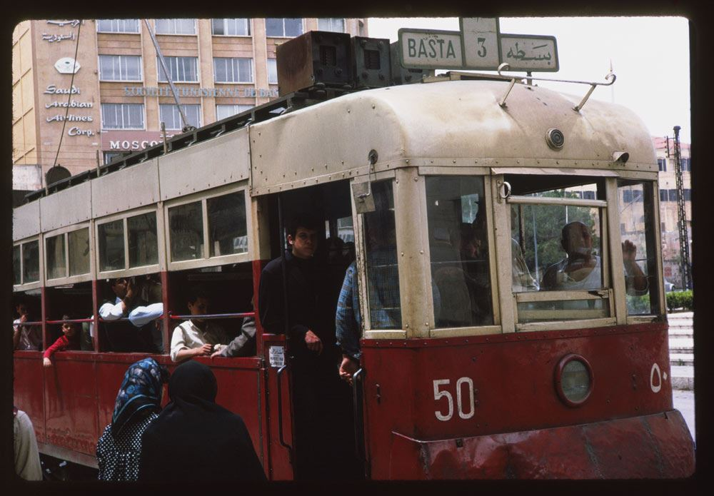 Beirut Tramway going from Riad El Solh to Basta 1965