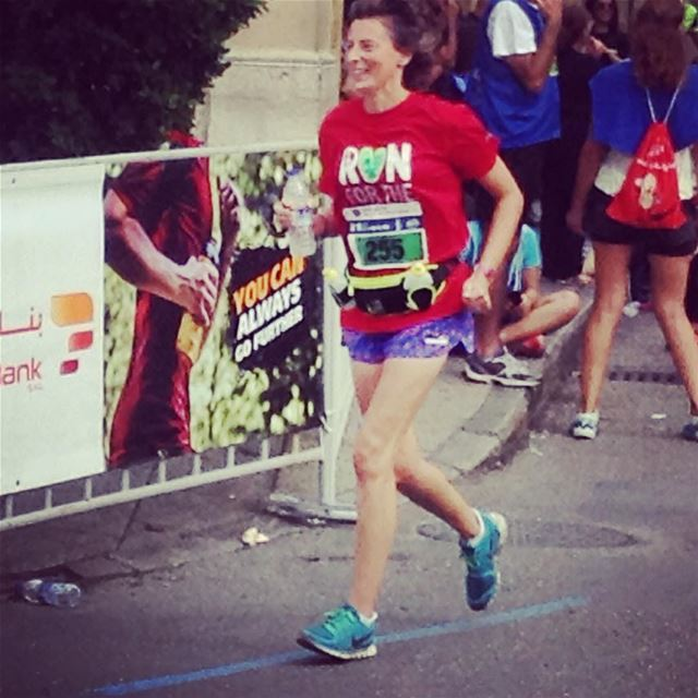 Beirut Marathon - The finish strait - 500m to the finish line, and still smiling