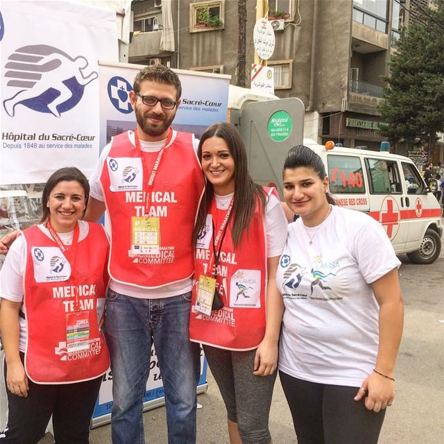 The team's nurses and doctor  (Beirut Marathon)